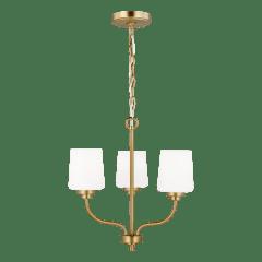Windom Three Light Chandelier Satin Brass