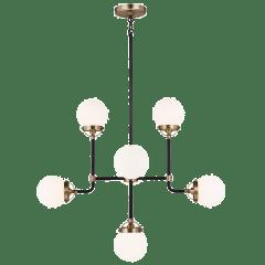 Cafe Eight Light Small Chandelier Satin Brass