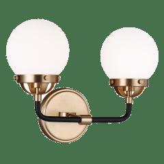 Cafe Two Light Wall / Bath Satin Brass Bulbs Inc