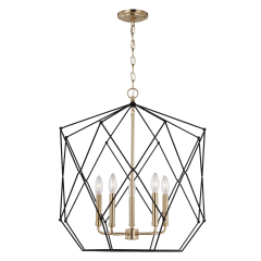 Zarra Large Five Light Lantern Satin Brass