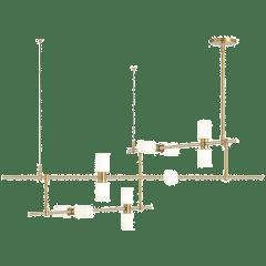 ModernRail Chandelier 2 Glass Cylinders Aged Brass 3000K 90 CRI 24v remote canopy (t24)