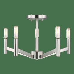 Vector Five Light Semi-Flush Mount Brushed Nickel