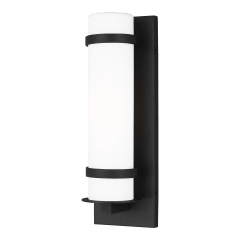 Alban Small One Light Outdoor Cylinder Wall Lantern Black