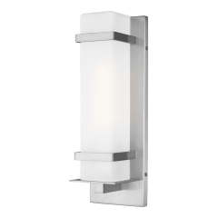 Alban Small One Light Outdoor Square Wall Lantern Satin Aluminum