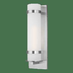 Alban Large One Light Outdoor Cylinder Wall Lantern Satin Aluminum Bulbs Inc