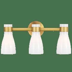 Moritz Three Light Vanity Burnished Brass with Milk White Glass