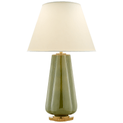 Penelope Table Lamp in Green with Natural Percale Shade