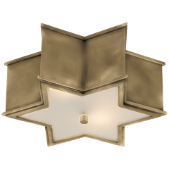 Sophia Small Flush Mount in Natural Brass with Frosted Glass