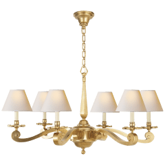 Myrna Chandelier in Natural Brass with Natural Paper Shades