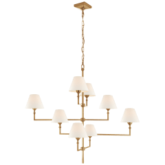 Jane Large Offset Chandelier in Hand-Rubbed Antique Brass with Linen Shades