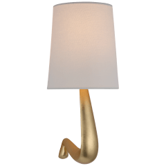 Gaya Medium Sconce in Gild with Linen Shade
