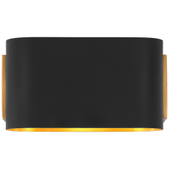 Nella Small Oblong Sconce in Hand-Rubbed Antique Brass and Matte Black