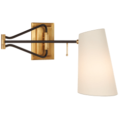 Keil Swing Arm Wall Light in Hand-Rubbed Antique Brass and Black with Linen Shade
