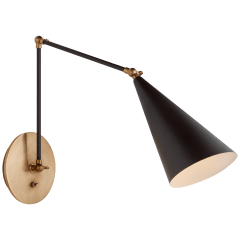 Clemente Double Arm Library Sconce in Black and Hand-Rubbed Antique Brass