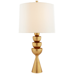 Veranna Large Table Lamp in Gild with Linen Shade