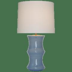 Marella Medium Table Lamp in Polar Blue Crackle with Linen Shade