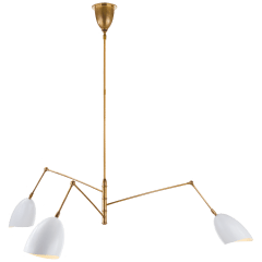 Sommerard Large Triple Arm Chandelier in Hand-Rubbed Antique Brass and White