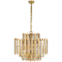 Ambrois Medium Chandelier in Hand-Rubbed Antique Brass with Crystal