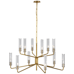 Casoria Large Two-Tier Chandelier in Hand-Rubbed Antique Brass with Clear Glass