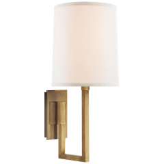 Aspect Library Sconce in Soft Brass with Ivory Linen Shade