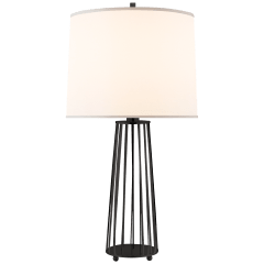 Carousel Table Lamp in Bronze with Silk Shade