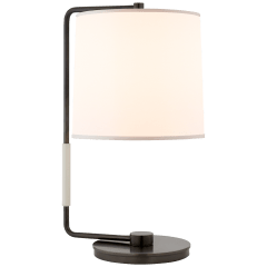 Swing Table Lamp in Bronze with Silk Shade