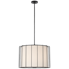 Carousel Large Drum Lantern in Bronze with Linen Shade