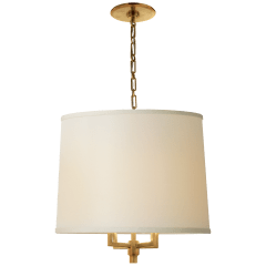 Westport Large Hanging Shade in Soft Brass with Linen Shade