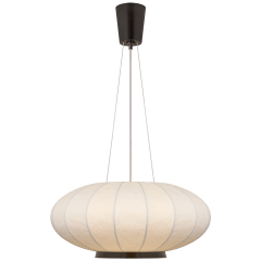 Paper Moon Medium Hanging Shade in Bronze with Rice Paper Shade