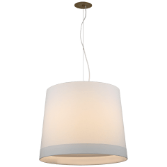 Sash Large Hanging Shade in Soft Brass with Linen Shade Banded