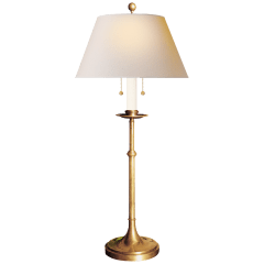 Dorchester Club Table Lamp in Antique-Burnished Brass with Natural Paper Shade