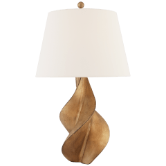 Cordoba Large Table Lamp in Gilded Iron with Linen Shade