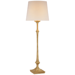 Briar Large Floor Lamp in Gilded Iron with Linen Shade