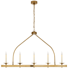 Launceton Large Linear Pendant in Antique-Burnished Brass