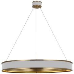"""Connery 40"""" Ring Chandelier in Matte White and Antique-Burnished Brass"""