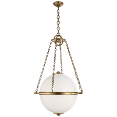 Modern Globe Lantern in Antique-Burnished Brass with White Glass