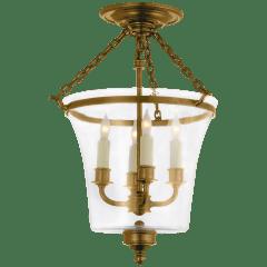 Sussex Semi-Flush Bell Jar Lantern in Antique-Burnished Brass
