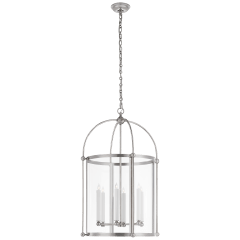 Plantation Large Round Lantern in Polished Nickel with Clear Glass