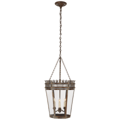 Warwick Medium Lantern in Weathered Verdigris with Clear Glass
