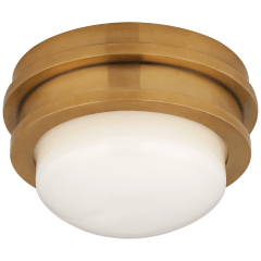 """Launceton 5"""" Solitaire Flush Mount in Antique-Burnished Brass with White Glass"""