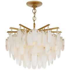 Cora Large Semi-Flush Mount in Antique-Burnished Brass with Alabaster