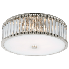 "Kean 18"" Flush Mount in Polished Nickel with Clear Glass Rods and Frosted Glass Diffuser"