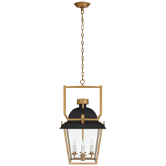 Coventry Small Lantern in Matte Black and Antique-Burnished Brass with Clear Glass