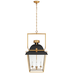 Coventry Large Lantern in Matte Black and Antique-Burnished Brass with Clear Glass