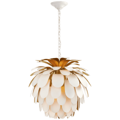 Cynara Medium Chandelier in White and Gild