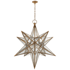 Moravian XL Star Lantern in Gilded Iron with Antique Mirror