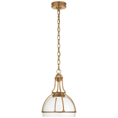 Gracie Medium Dome Pendant in Antique-Burnished Brass with Clear Glass