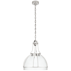 Gracie Large Dome Pendant in Polished Nickel with Clear Glass