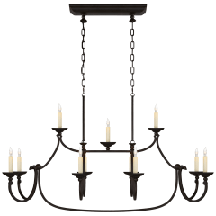 Flemish Large Linear Pendant in Aged Iron