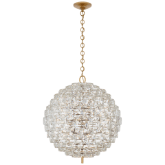 Karina Large Sphere Chandelier in Antique-Burnished Brass and Crystal